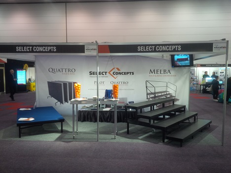 The education show quattro and melba fold and roll display